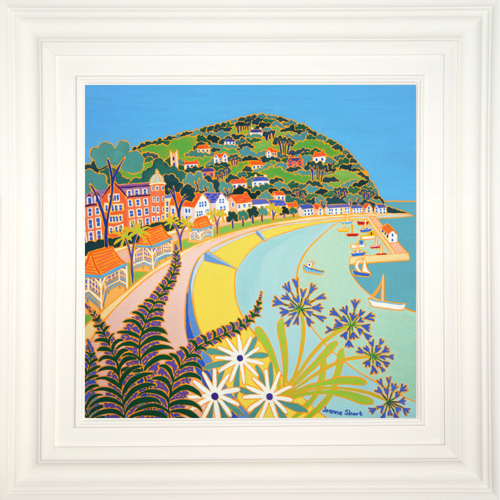 Framed painting of Minehead by British artist Joanne Short with echiums and agapanthus.