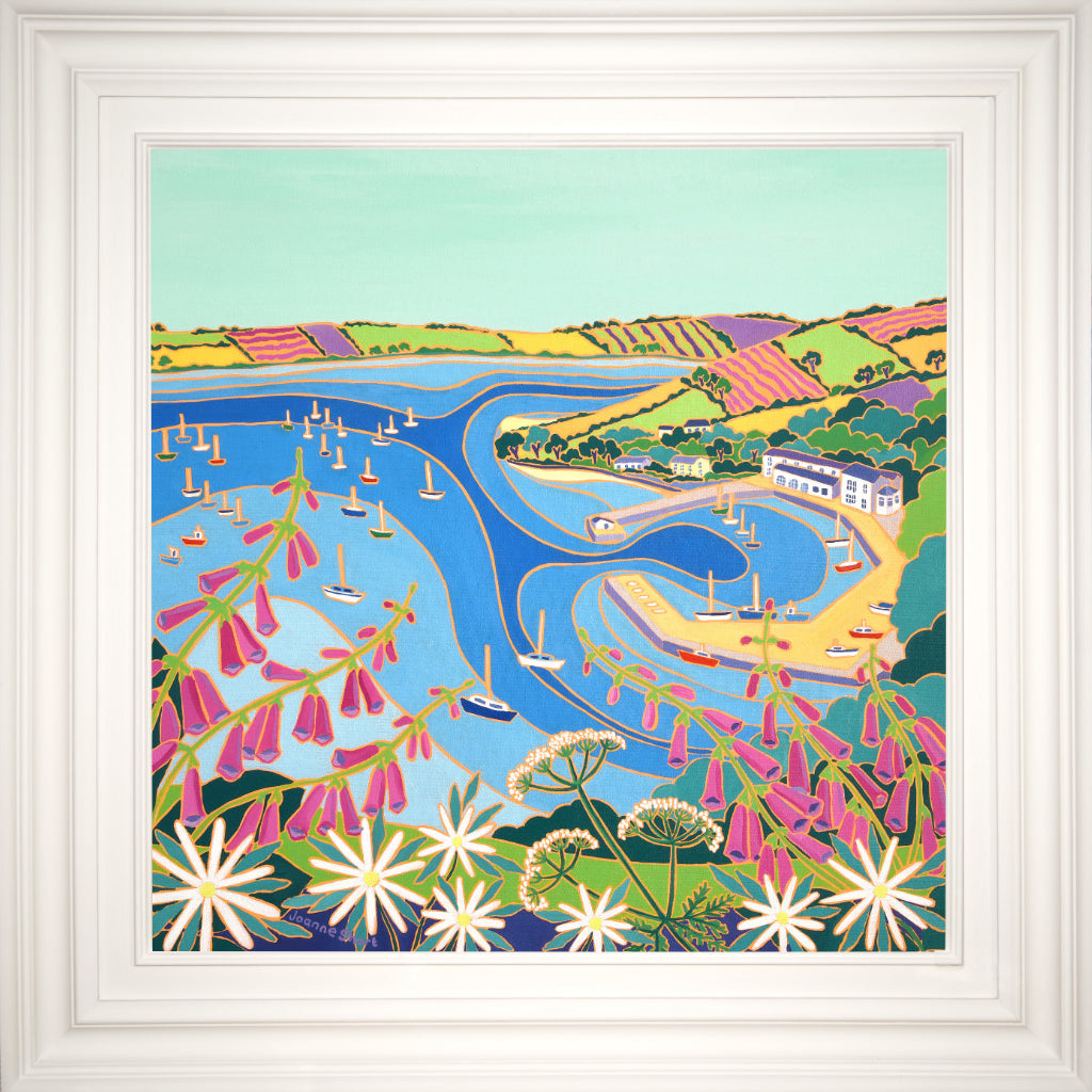 Original Painting by Joanne Short. Looking through the Wild Flowers to Mylor Harbour.