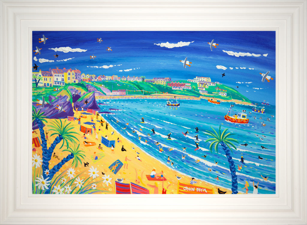 This painting of Great Western Beach by the renowned Cornish artist John Dyer captures all the joy of a seaside holiday. Surfers, swimmers, sunbathers and seagulls fill this painting with fun and life. There are stripy windbreaks, pretty flowers and palm trees to add to this carnival of colour. It's a painting that will take your holiday home with you.