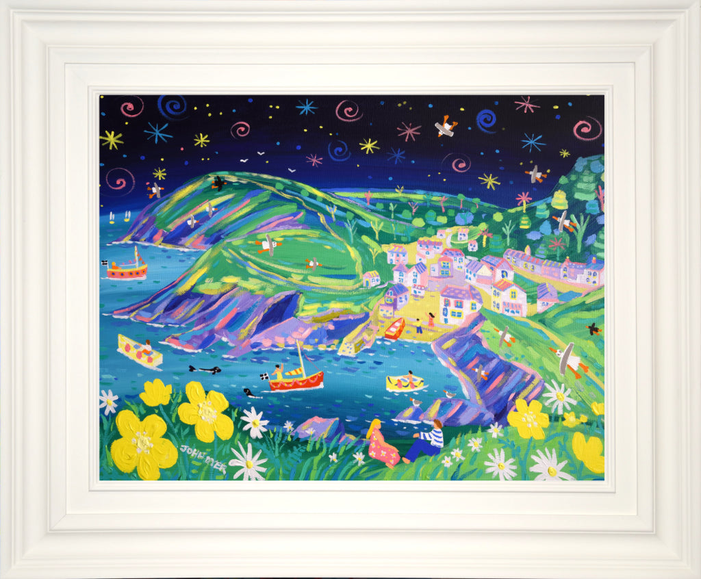 John Dyer Painting. Twinkling Stars, Portloe. 18 x 24 inches acrylic on canvas