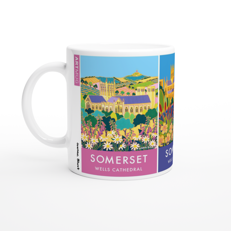 Souvenir collectible art mug featuring paintings of Wells, Vicars Close and Wells Cathedral by Somerset artist Joanne Short