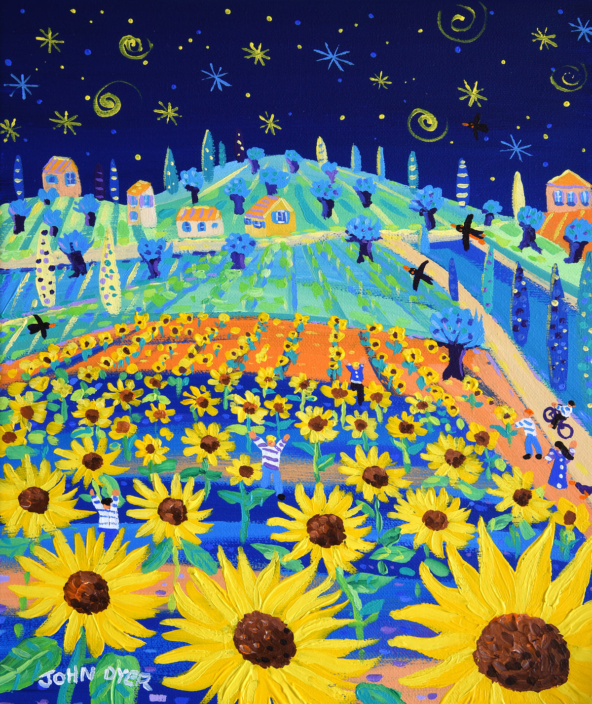 John Dyer Painting. Sunflowers and Stars. 12 x 10 inches acrylic on canvas