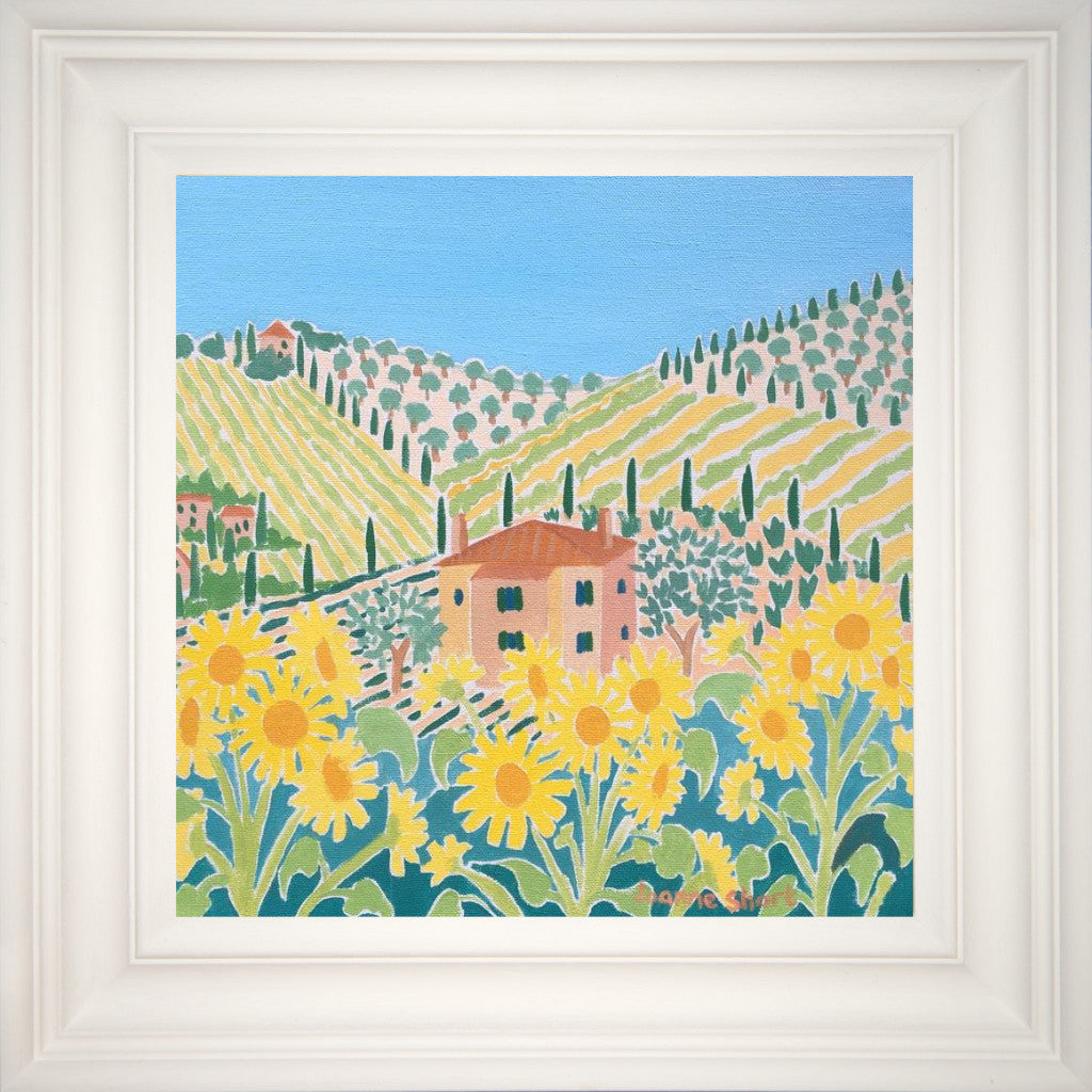 What better flower to lighten the mood and bring a smile to one's face than the sunflower which in itself transports us to the Italian hillsides. In this painting the hillside is covered with vines and olive trees and a beautiful Tuscan villa nestled amongst all the Italian vegetation. Painted by acclaimed British artist Joanne Short this is Italy at its best.