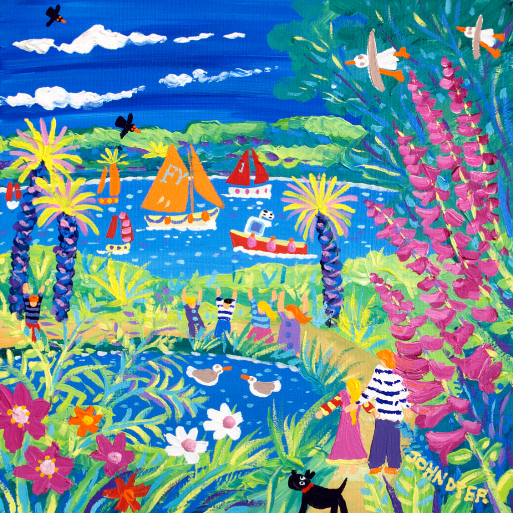 Signed Limited Edition Print of Fun and Games in the Garden, Trebah by artist John Dyer