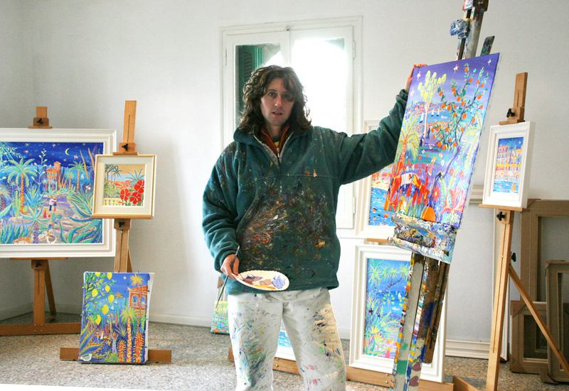 Artist John Dyer in the studio at La Mortola, Giardini Hanbury.