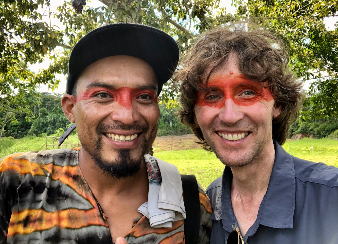 Amazon Indian Nixiwaka Yawanawá and British artist John Dyer pictured in the tribal village of Mutum in the Amazon rainforest, Brazil.
