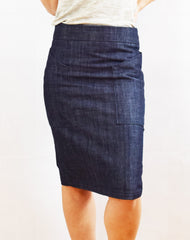 Alberta Street Pencil Skirt denim front