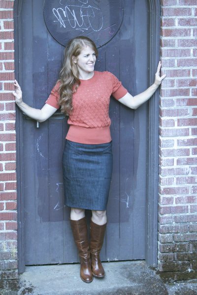 Alberta Street Pencil Skirt in a doorway