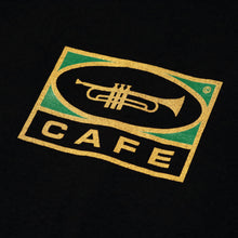 Load image into Gallery viewer, Cafe 'Trumpet Logo' T-shirt - Black