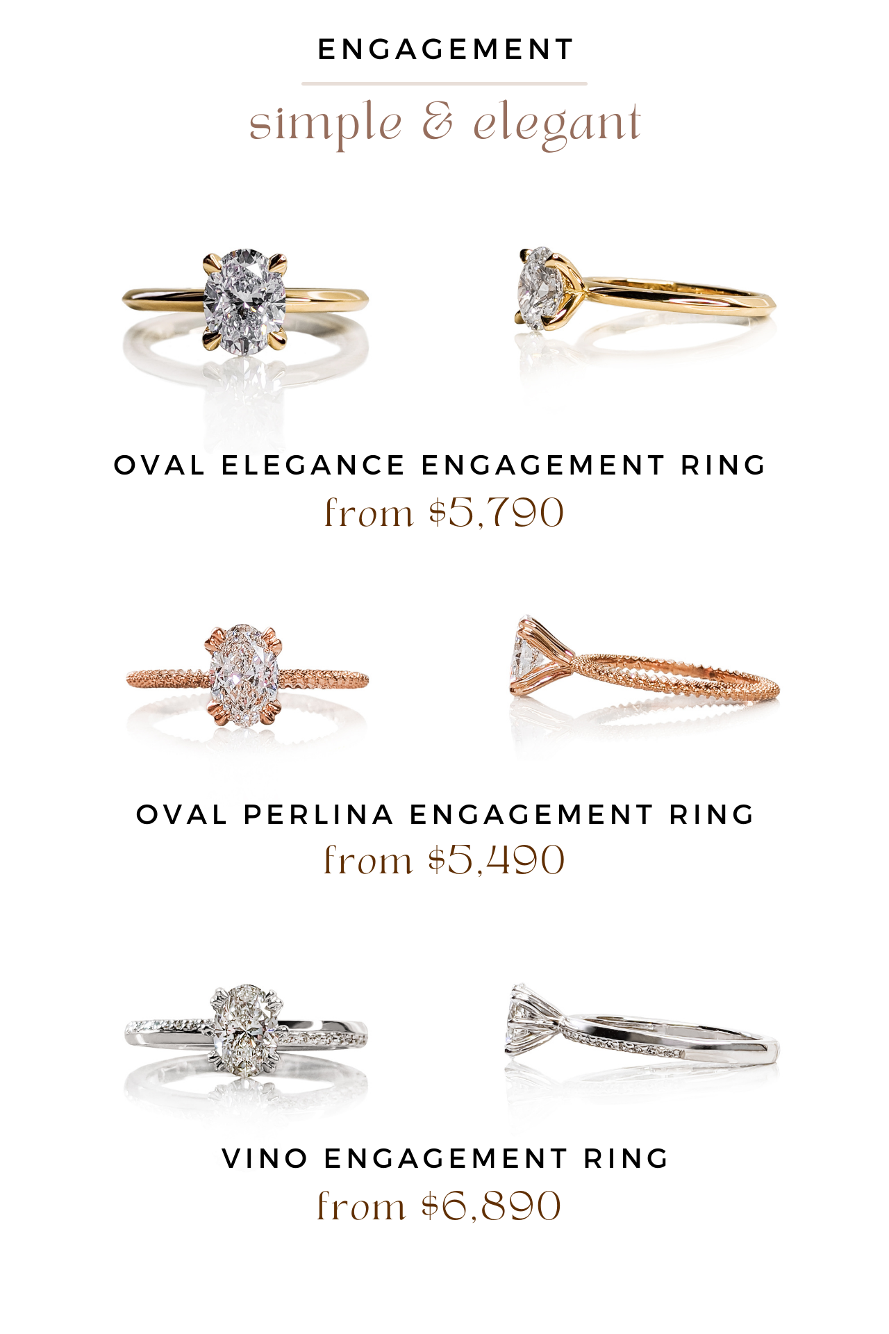 oval elegance engagement ring, oval perlina engagement ring, vino engagement ring
