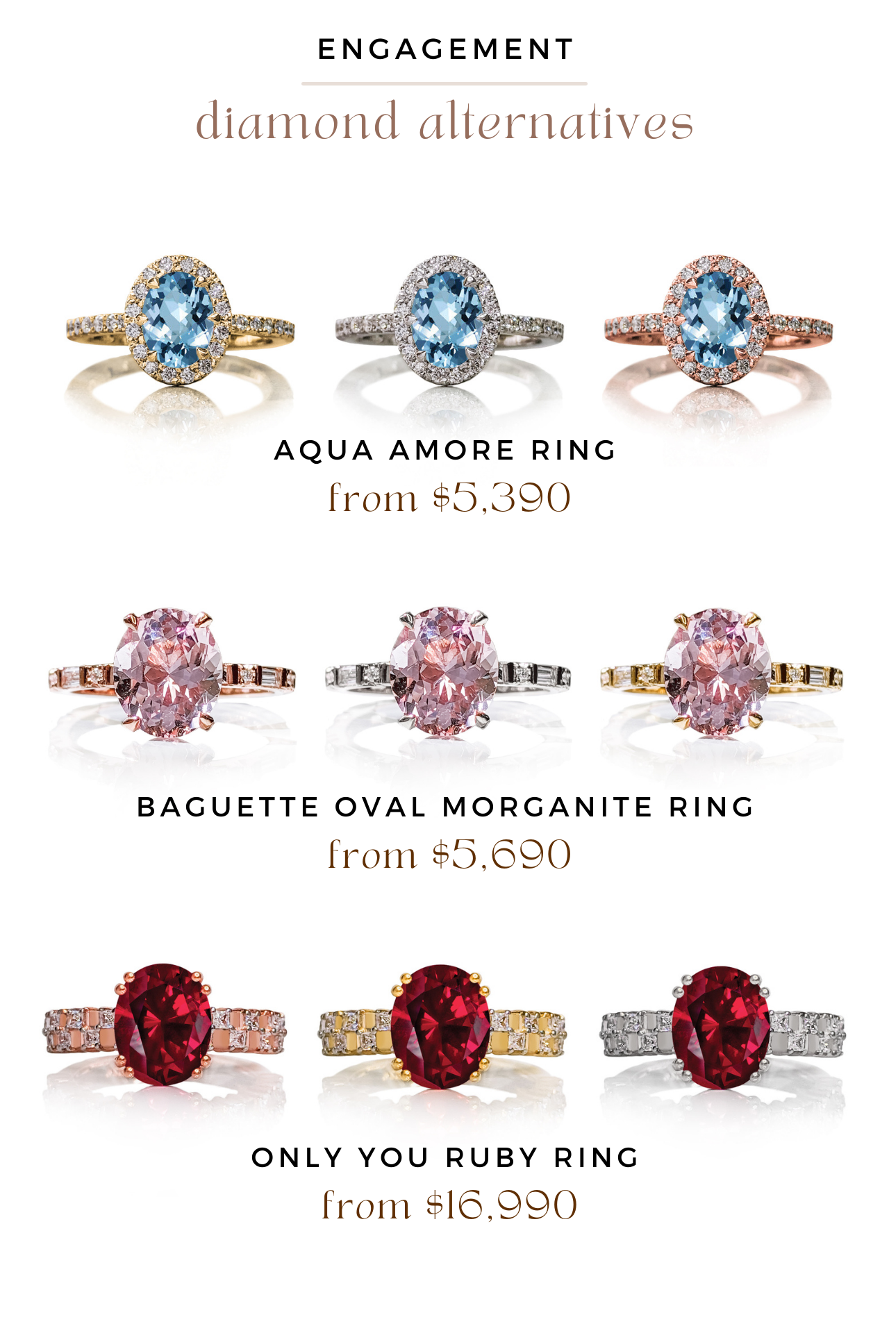 aqua amore ring, baguette oval morganite ring, only you ruby ring