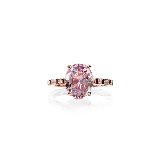 Baguette Oval Morganite Ring