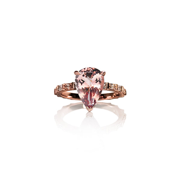 Baguette Pear Morganite Ring