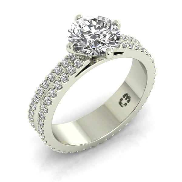 Split Diamonds Engagement Ring