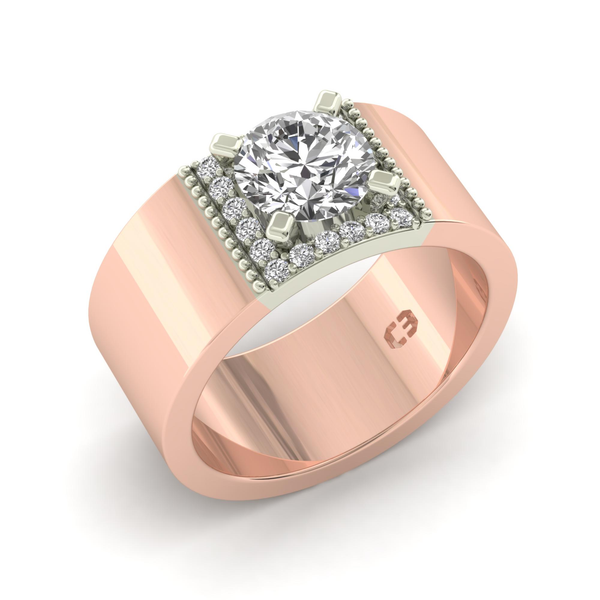 Wide Band Engagement Ring