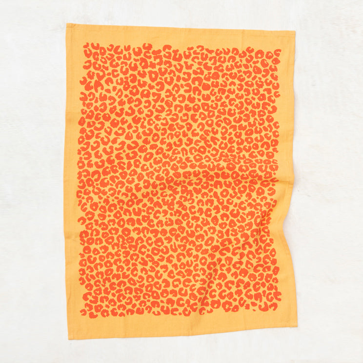 Leopard Kitchen Towel - Peach