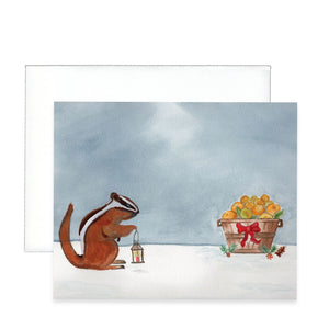 Chipmunk Christmas Greeting Card