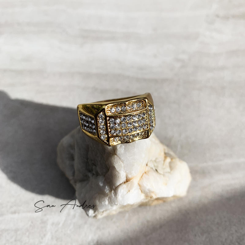 Gold Ring with Diamonds - San Andrés