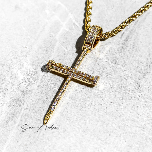 Gold Cross Nails Pendant - San Andrés