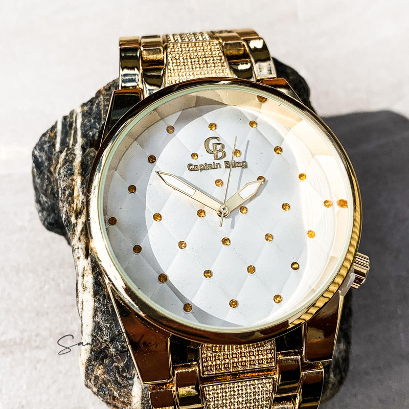 Luxury Gold Watch with White Face - San Andrés