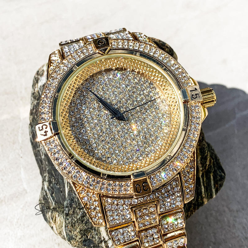 Fully Diamond Encrusted Gold Watch - San Andrés