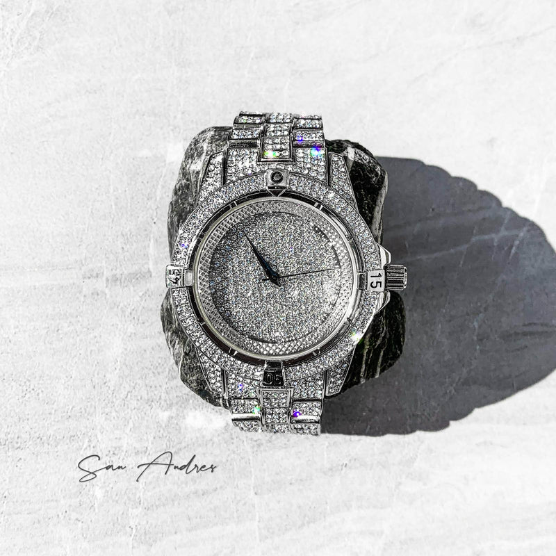 Fully Diamond Encrusted White Gold Watch - San Andrés