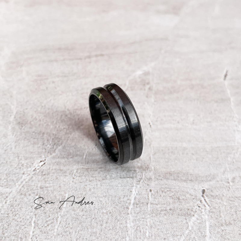 Black Steel Ring with Centre Groove - San Andrés