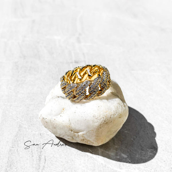 Iced Out Gold Cuban Link Ring - San Andrés