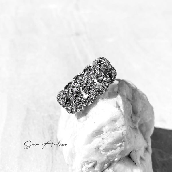 Iced Out Platinum Cuban Link Ring - San Andrés