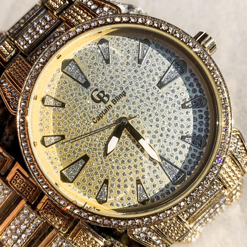 Gold watch with diamonds and matching band - San Andrès