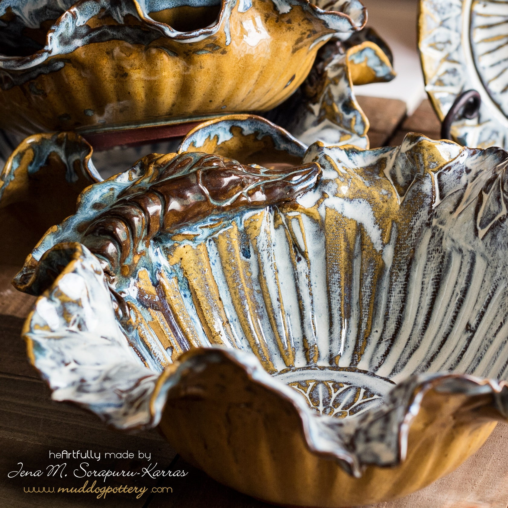 The Blue Crawfish (Krevis Blé) with Gold Accents Large Serving Bowl