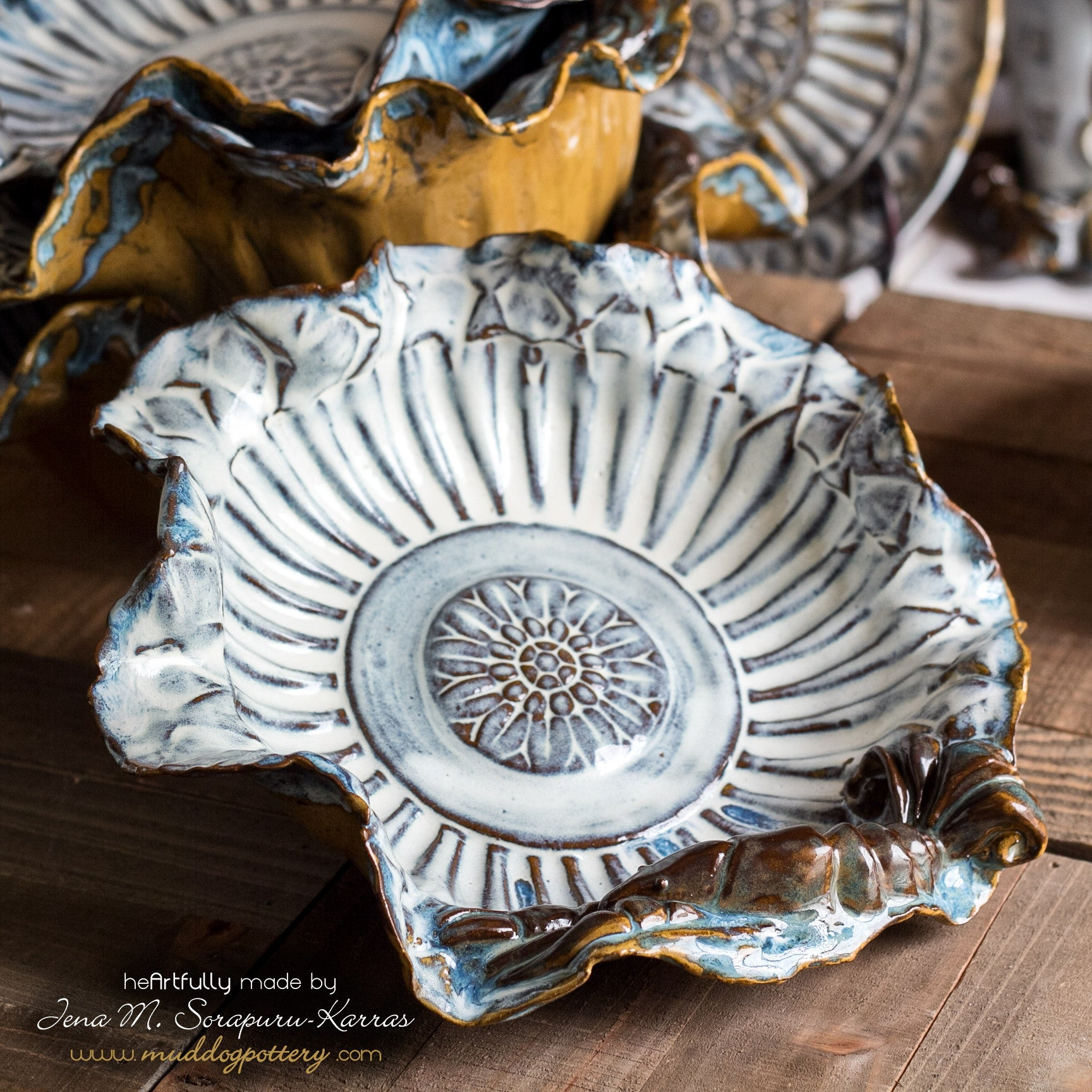 The Blue Crawfish (Krevis Blé) with Gold Accents Small Serving Bowl