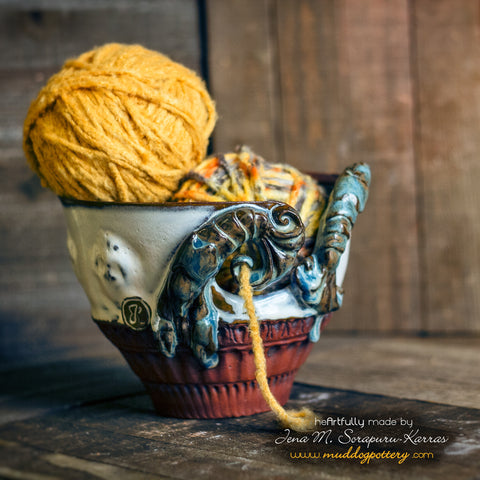 Blue Crawfish Yarn Bowl