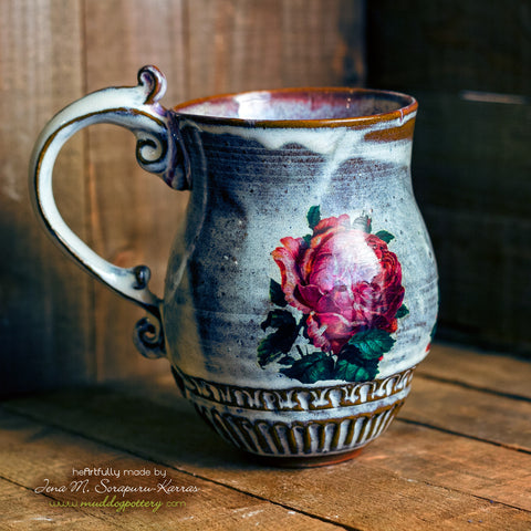 Coral Charm Peony Coffee Mug ( The Creole Courtyard Collection )