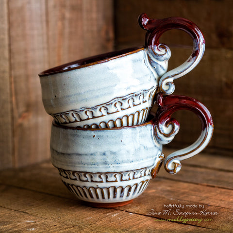 Blan e Rouj (White and Red) Cappucino Mug Set ( The Creole Courtyard Collection )