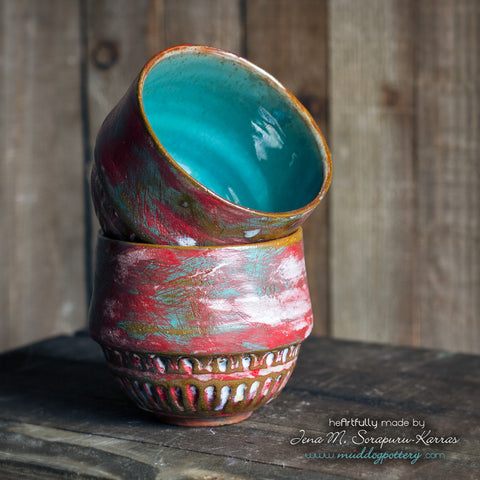 Peeling Paint (Rouj) Wine Cup Set ( The Creole Courtyard Collection )
