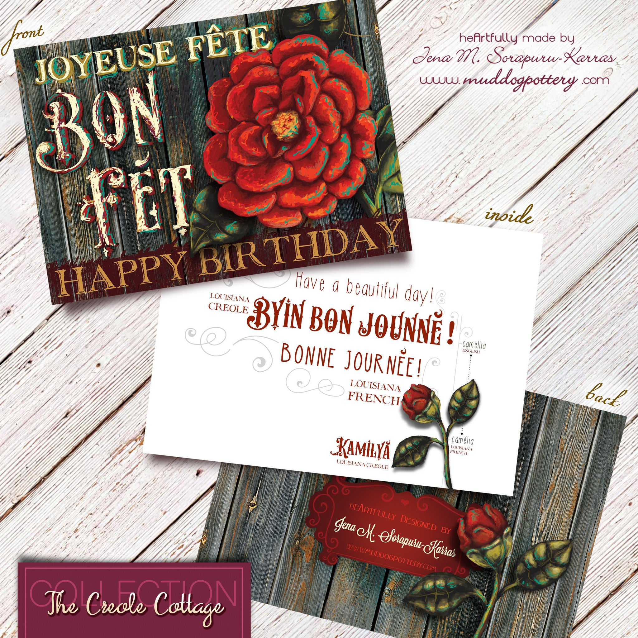 Louisiana Camellia Flower Birthday Card (The Creole Cottage Collection)