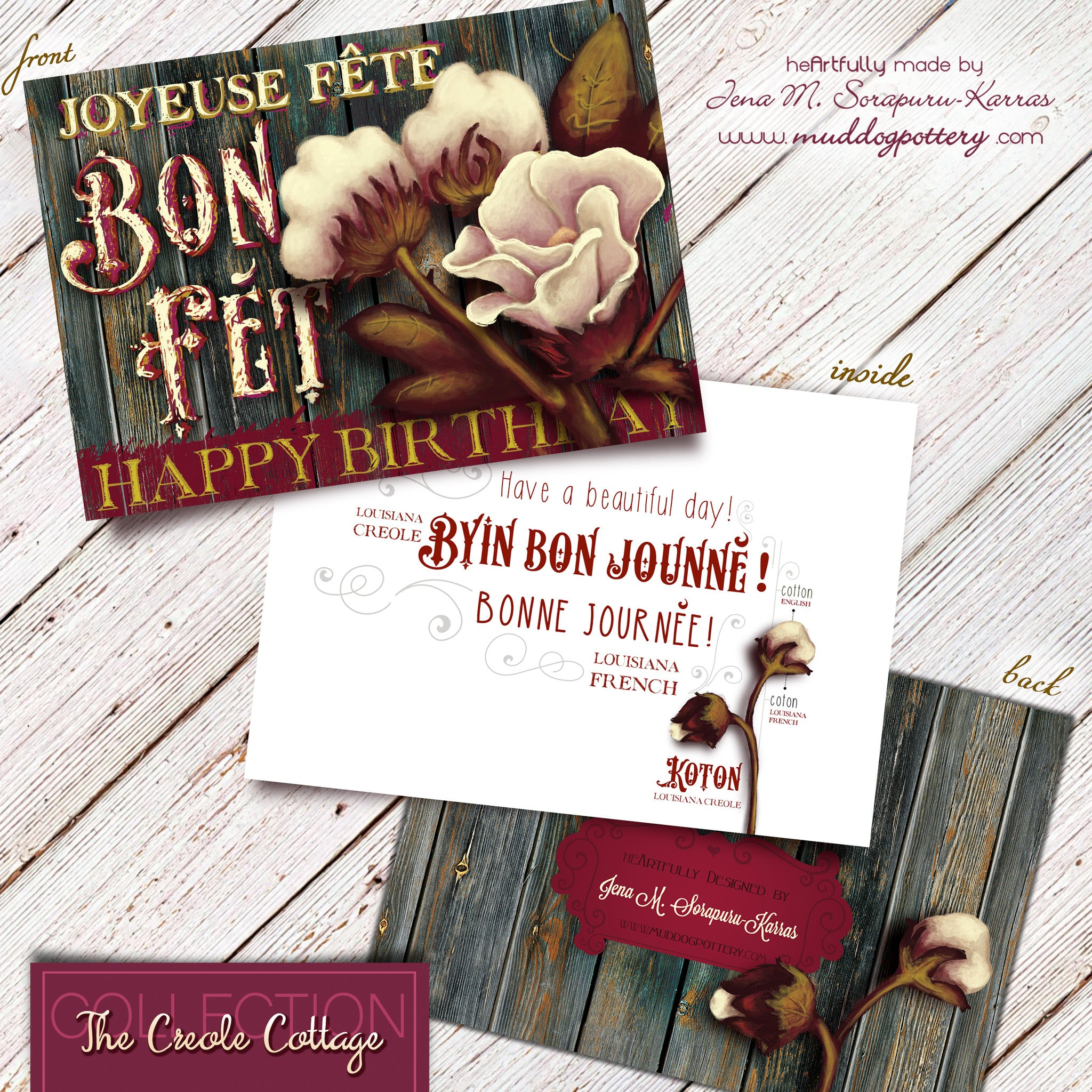 Louisiana Cotton Plant Birthday Card (The Creole Cottage Collection)