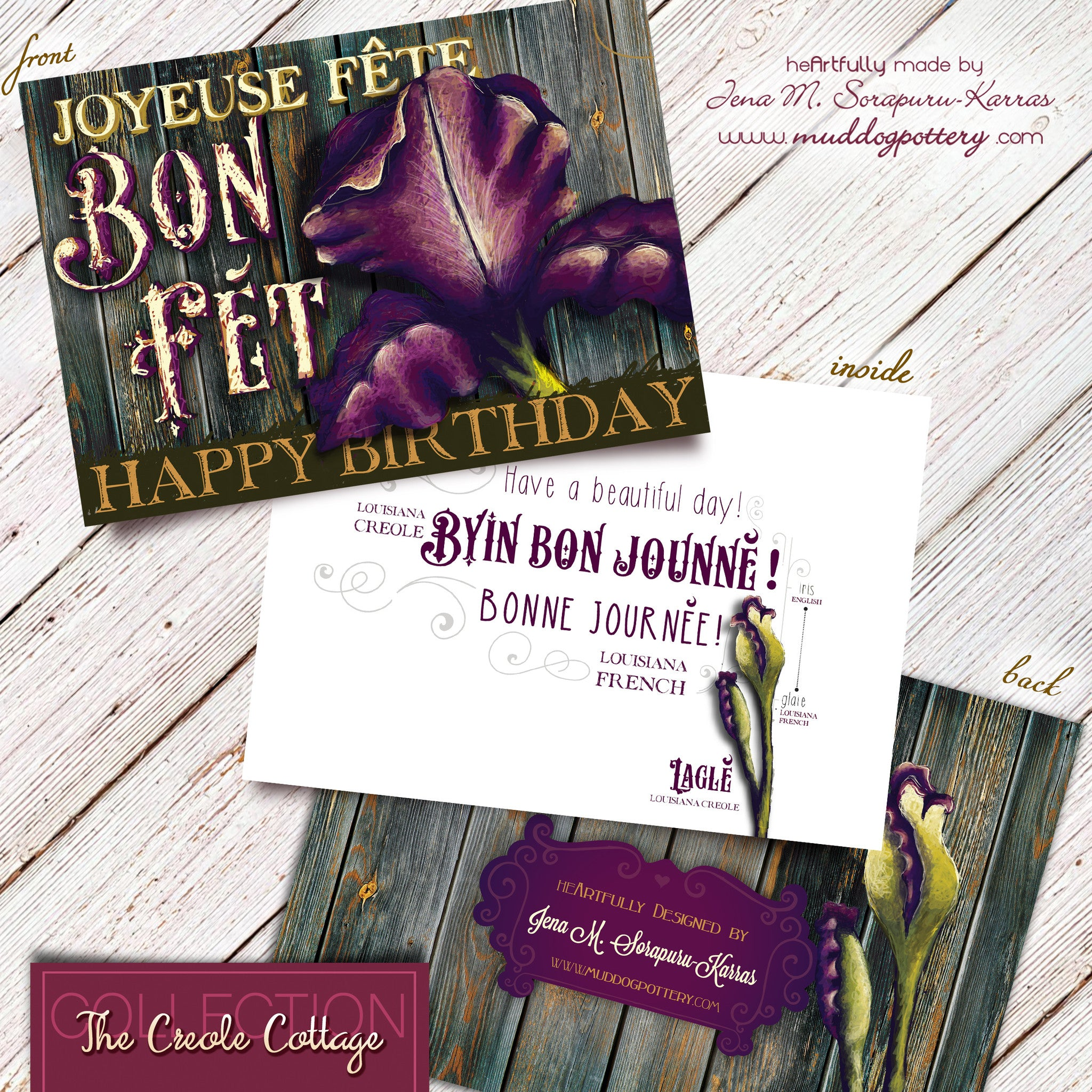 Louisiana Purple Iris Birthday Card (The Creole Cottage Collection)
