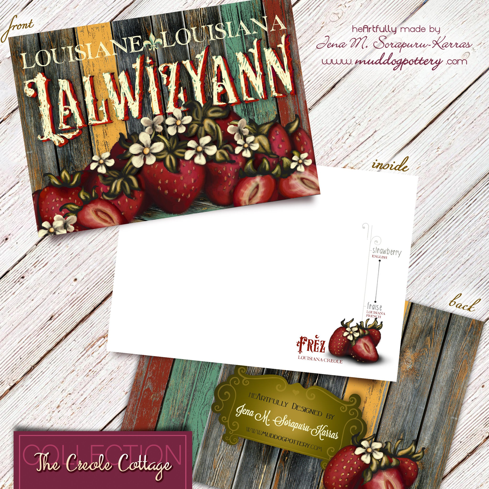 Louisiana Strawberry Note Cards (The Creole Cottage Collection)