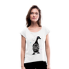 Crazy Duck Lady | Women's Roll Cuff T-Shirt - white
