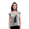 Crazy Duck Lady | Women's Roll Cuff T-Shirt - heather gray