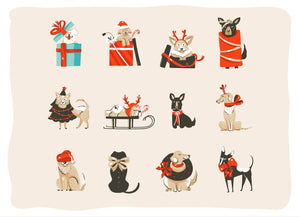 DOGGIE PRESENT HOLIDAY CARD | Happy Holidays | Single or Bundle!