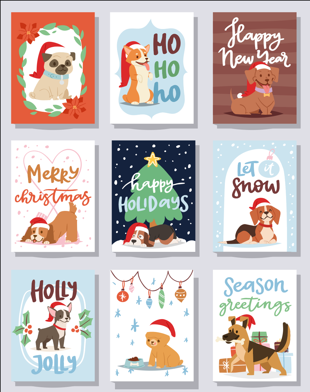 ASSORTED DOG HOLIDAY/CHRISTMAS CARD | Happy Holidays | Merry Christmas | Singles or Bundle!