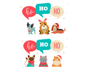 HO HO HO Dog & Cat Paired Christmas Cards | Holiday Card | Single or Bundle!