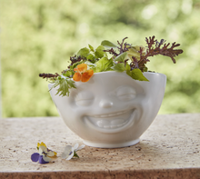 Load image into Gallery viewer,  16 ounce capacity porcelain bowl featuring a sculpted 'laughing' facial expression. From the TASSEN product family of fun dishware by FIFTYEIGHT Products. Quality bowl perfect for serving cereal, soup, snacks and much more.