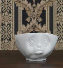 Load image into Gallery viewer, 16 ounce capacity porcelain bowl featuring a sculpted 'sulking' facial expression. From the TASSEN product family of fun dishware by FIFTYEIGHT Products. Quality bowl perfect for serving cereal, soup, snacks and much more.