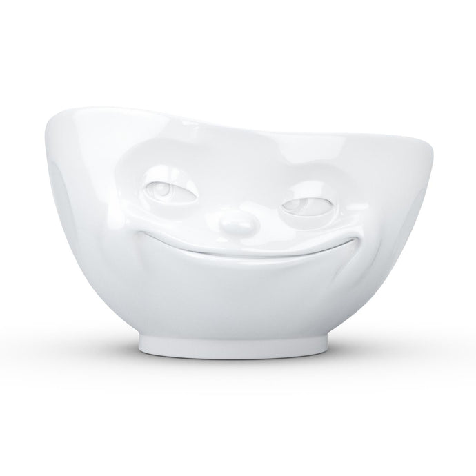 16 ounce capacity porcelain bowl featuring a sculpted 'grinning' facial expression. From the TASSEN product family of fun dishware by FIFTYEIGHT Products. Quality bowl perfect for serving cereal, soup, snacks and much more.