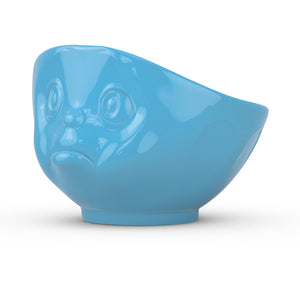 16 ounce capacity porcelain bowl in blue featuring a sculpted 'sulking' facial expression. From the TASSEN product family of fun dishware by FIFTYEIGHT Products. Quality bowl perfect for serving cereal, soup, snacks and much more.