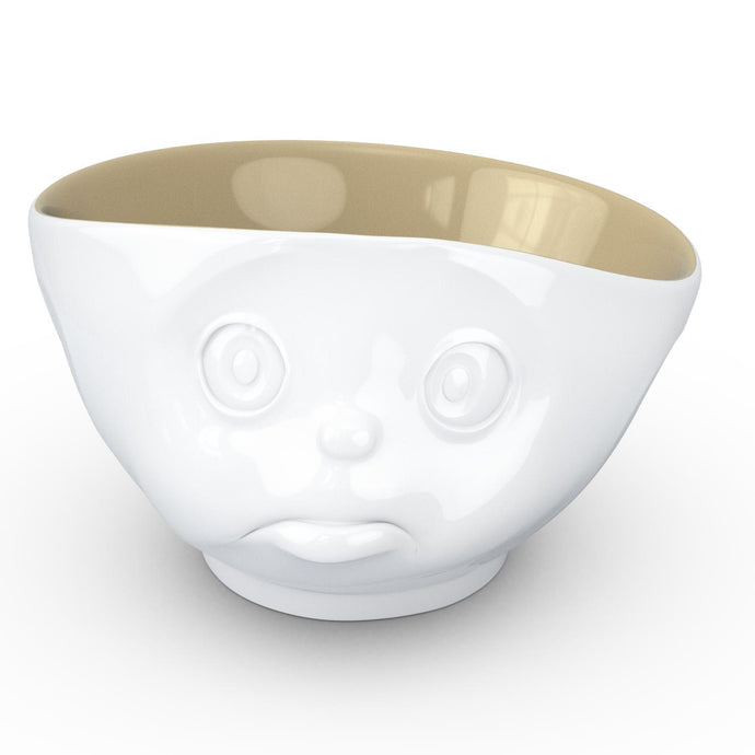 16 ounce capacity porcelain bowl in white with sand color on the inside featuring a sculpted 'sulking' facial expression. From the TASSEN product family of fun dishware by FIFTYEIGHT Products. Quality bowl perfect for serving cereal, soup, snacks and much more.